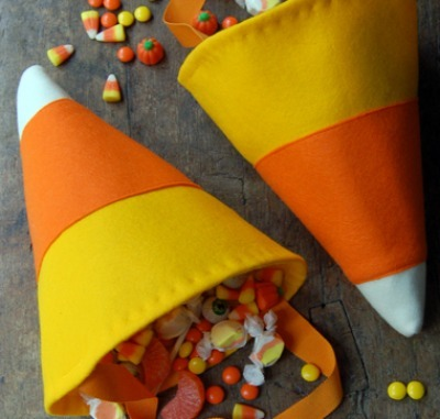 Candy corn halloween treat bag
