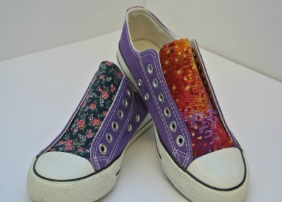 Shoes with Fabric Insert