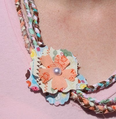 braided fabric scrap necklace