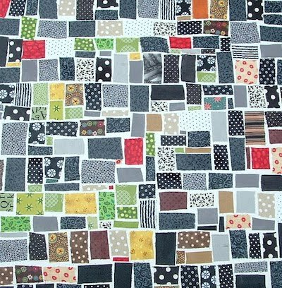 fabric scrap mosaic wallhanging