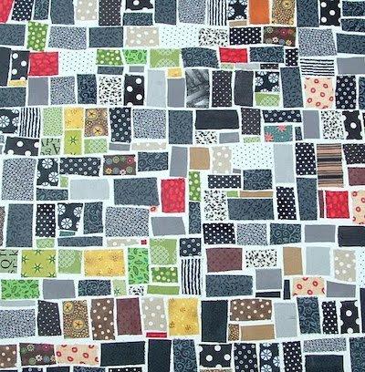 fabric scrap mosaic wallhanging