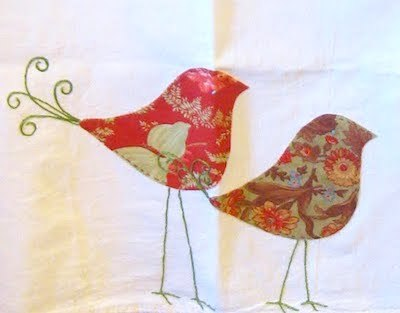 hand applique bird dishtowel