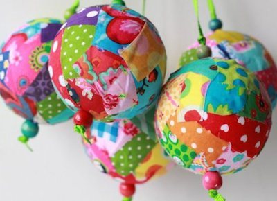 fabric scrap ball ornaments