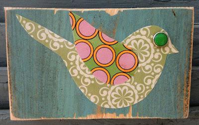 fabric bird decoupage wood plaque