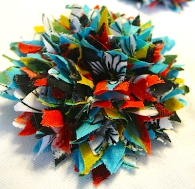 fabric scrap hair barrette flower