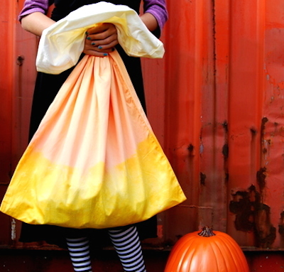 candy corn dyed pillowcase halloween treat bag