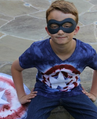 dyed superhero kids tee shirt