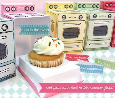 Claudine Hellmuth printables oven cupcake box