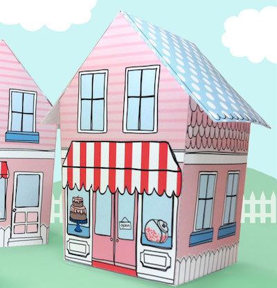 Claudine Hellmuth printables house cupcake box