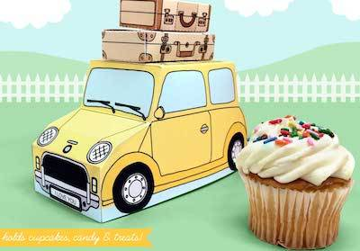 Claudine Hellmuth retro car printable cupcake box