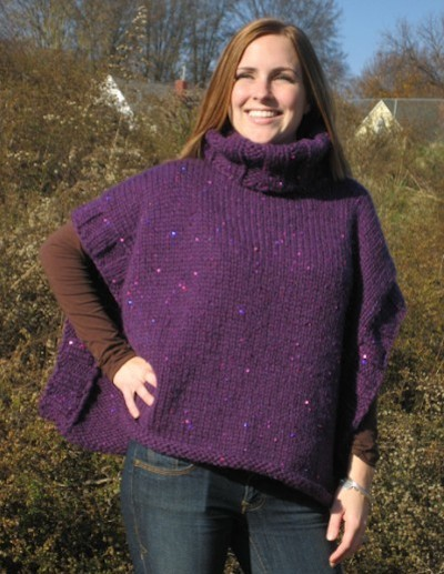 turtleneck cape sweater knitting pattern