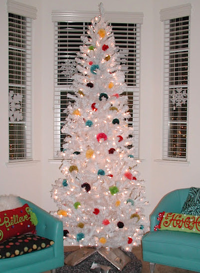 white pompom christmas tree