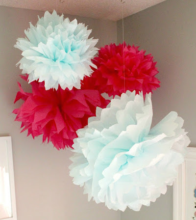 red white tissue paper pompoms