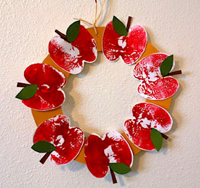 Wreath made from apple prints