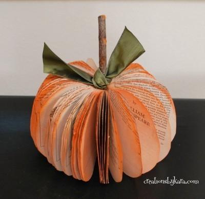 Rustic Book Paper Pumpkin