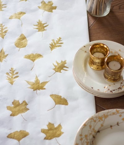 Gold Leaf Stamped Paper Table Runner