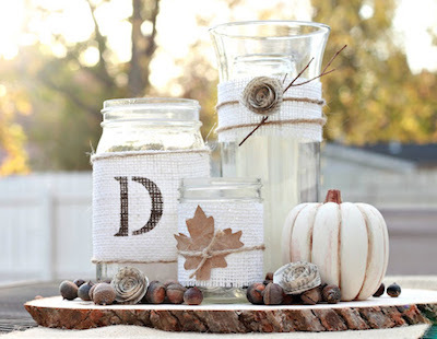 Rustic Burlap Centerpiece with Upcycled Jars