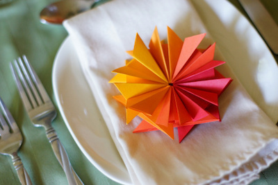 Folded Paper Flower Place Setting