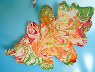 shaving cream marbled painted leaf