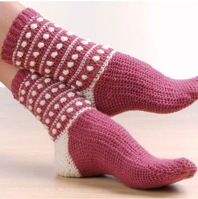 popcorn crochet socks