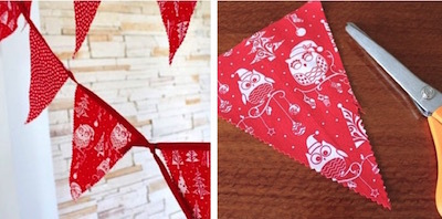 Red and white holiday bunting