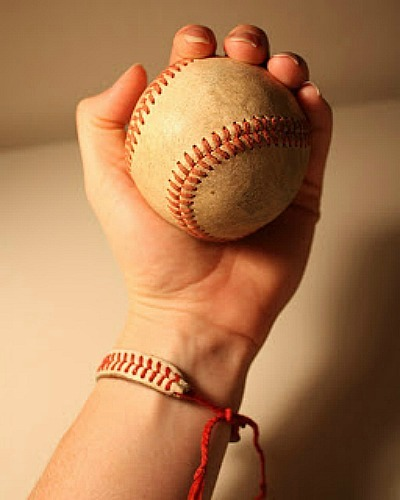 Baseball Bracelet and Baseball in Hand