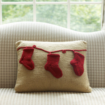 Holiday stocking pillow, pillow with stockings, DIY knitted pillow cover