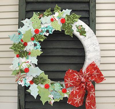 fabric holly leaf wreath