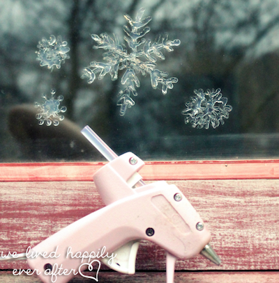 glue gun snowflakes on window