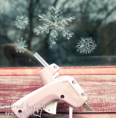 glue gun snowflakes on window