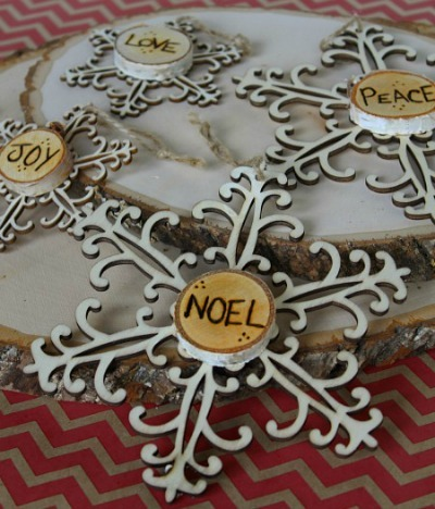 burned wood Snowflake ornaments