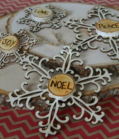 burned wood Snowflake ornaments