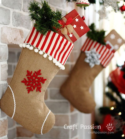 burlap diy christmas stocking