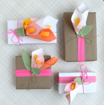 Calla lily wrapped gift boxes