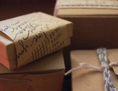 Boxes with handwritten gift wrap