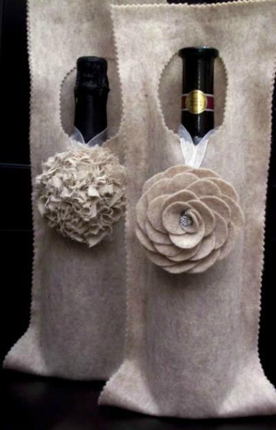 Felt wine bottle bags with rosettes