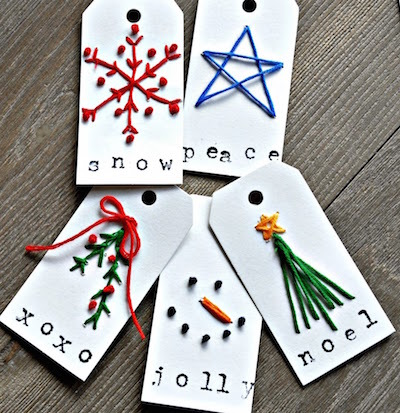 hand embroidered christmas gift tag