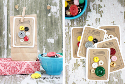 mason jar of buttons gift tags