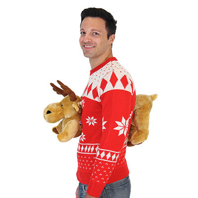 ugly christmas sweater with moose