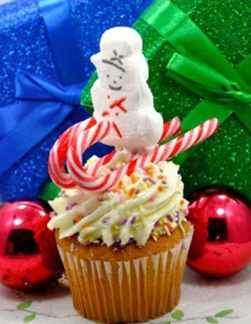 skiing snowman candy cane cupcake topper