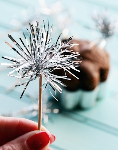 tinsel sparkler cupcake topper