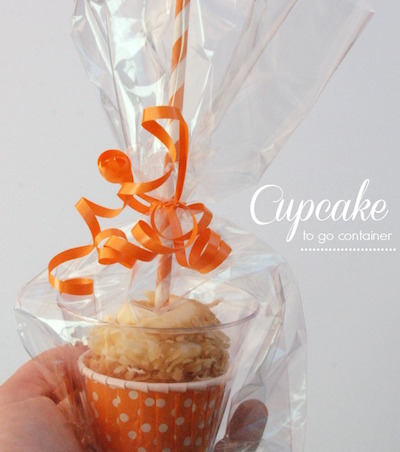 plastic wrap to go cupcake container