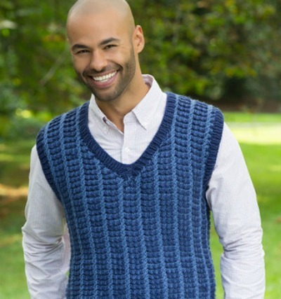 Mens two-tone sweater vest knitting pattern