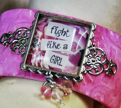 pink faux leather cuff bracelet