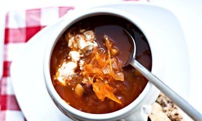 Sauerkraut hangover soup