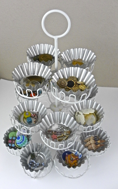 cupcake stand organize craft supplies