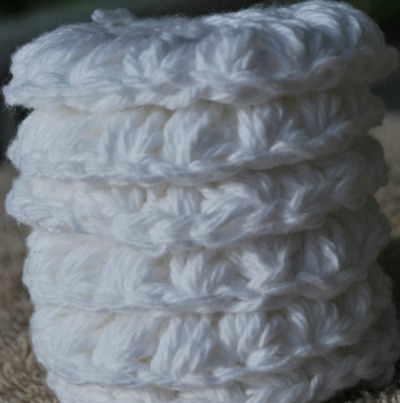 White crochet face scrubbies