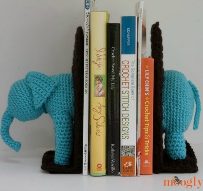 Crocheted elephant bookends