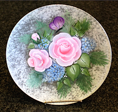 etched glass handpainted plate