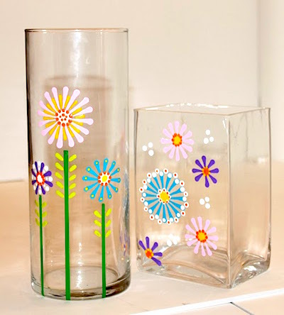 handpainted flower glass vase